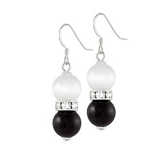 Eternal Collection Vaudeville Black And White Cat's Eye Silver Tone Drop Pierced Earrings