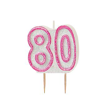 SALE - Pink Glitz Milestone Ages Birthday Candle Pick -  Age 80