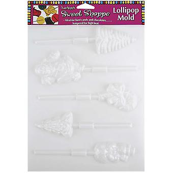 Sweet Shoppe Candy Molds Christmas Lollipop 5 Cavity 5 Designs L55 68