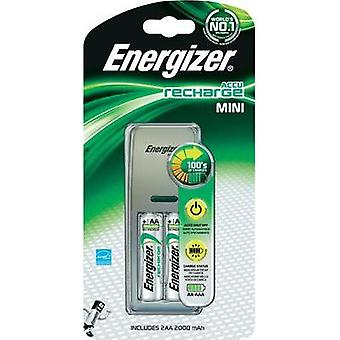 Lader for sylindriske celler inkl oppladbare Energizer mini lader