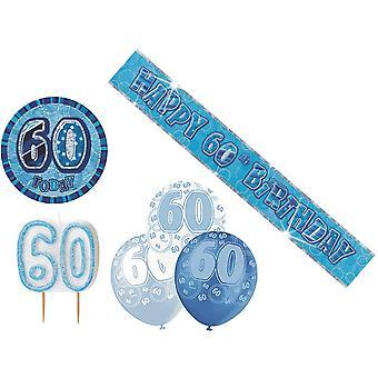 60: e födelse dekoration Pack BALLONGER BANNER ljus BADGE dekoration blå