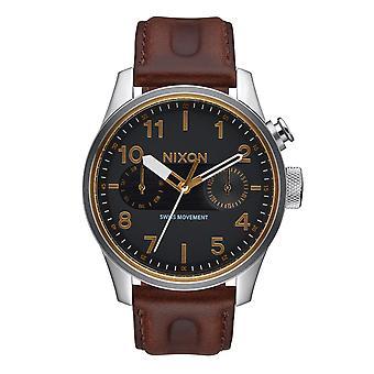 Nixon le Safari cuir luxe noir / marron (A977019)
