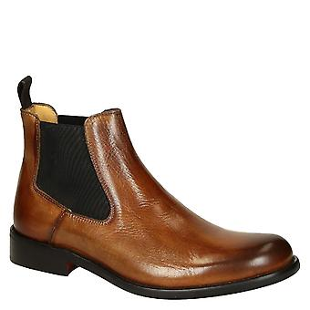 Tan lux calf leather men's chelsea boots