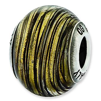 Sterling Silver Reflections Italian Murano Yellow Stripes Glass Bead Charm