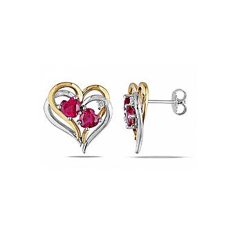 Affici Sterling Silver Heart Earrings 18ct White & Yellow Gold with Ruby CZ Gems