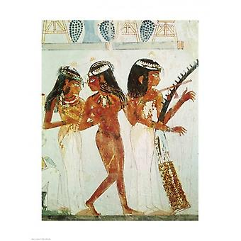 Musicians and a Dancer from the Tomb of Nakht Poster Print (18 x 24)