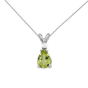 14k White Gold Pear Shaped Peridot and Diamond Pendant with 18