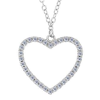 Heart And CZ Necklace In Sterling Silver, 18
