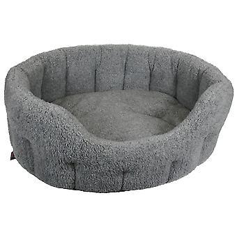 Premium Oval Fleece Softee Bed Silver Grey Size 3 51x41x20cm