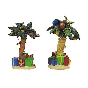Palm Trees Decorated for Holidays Christmas Resin Ornaments Set of 2  Kurt Adler