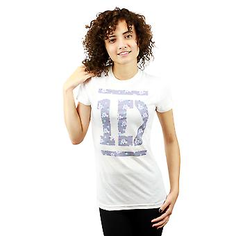 One Direction Floral Logo Graphic Design Printed Women's Casual White T-shirt