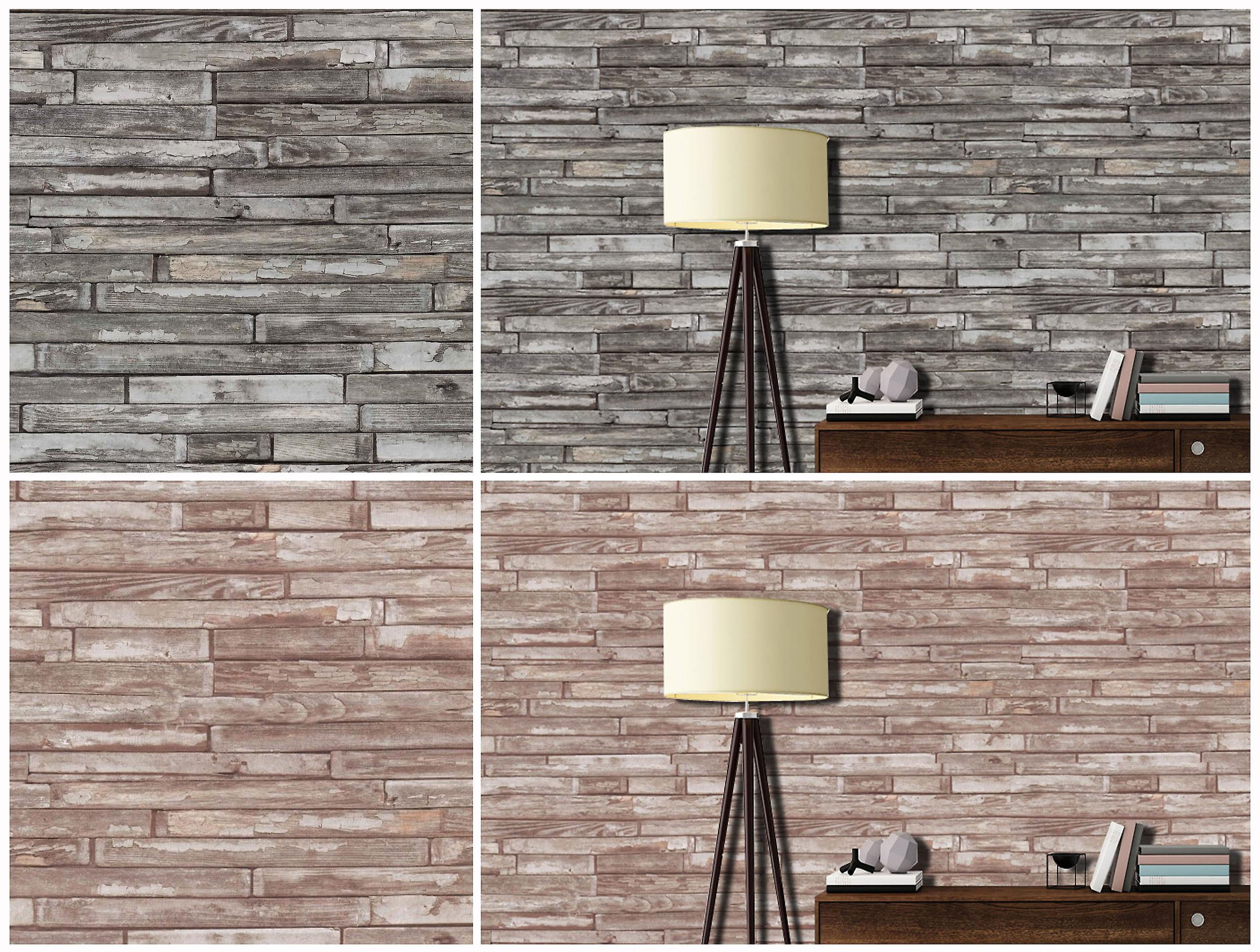 Wood Effect Wallpaper Wooden Blocks Panels Faux Realistic Weathered P+S