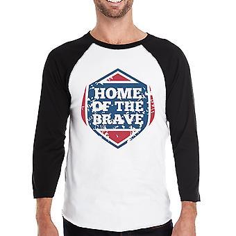 Hem för de modiga Mens Baseball T-shirt 3/4 ärm Graphic Tee