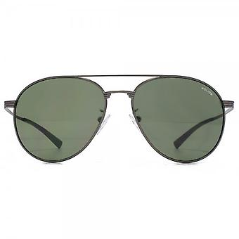 Police Round Aviator Sunglasses In Matte Gunmetal Green