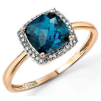 9 ct Gold blau Topas und Diamant-Ring