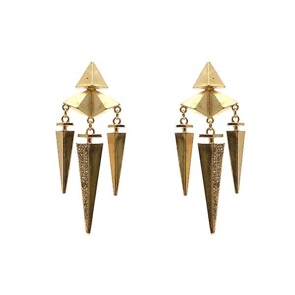 W.A.T Gold Style Aztec Crystal Spike Shaped Fashion Earrings