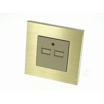 I LumoS Luxury Gold Brushed Aluminium Double 2.1A USB Single Socket Charger