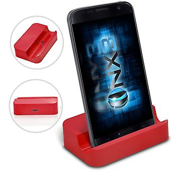 Motorola Moto G Turbo Edition Desktop USB Base Stand Data Sync Charging Dock Station (Red)