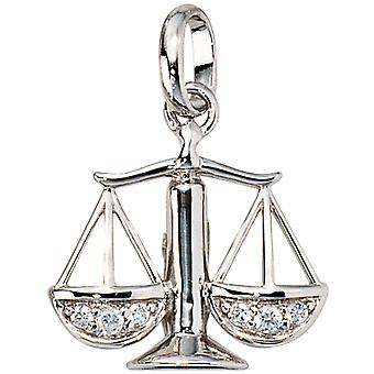 Zodiac trailer scale with cubic zirconia 925 Silver rhodium-plated
