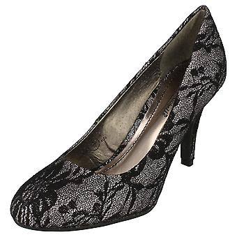 Ladies Anne Michelle Lace Effect Party Shoes