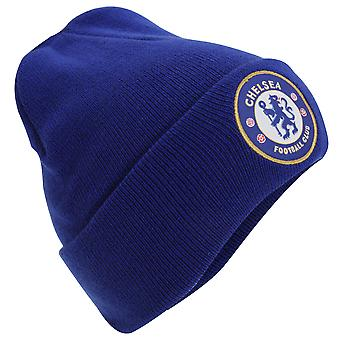 Chelsea FC Official Adults Knitted Winter Football Crest Hat
