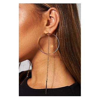 The Fashion Bible Gold Long Chain Circle Drop Earrings