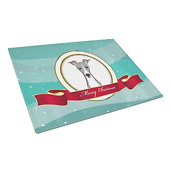 Italian Greyhound Merry Christmas Glass Cutting Board Large
