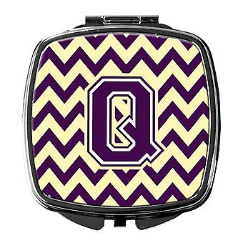 Carolines Treasures  CJ1058-QSCM Letter Q Chevron Purple and Gold Compact Mirror