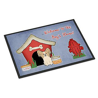 Dog House Collection Papillon Sable White Indoor or Outdoor Mat 18x27