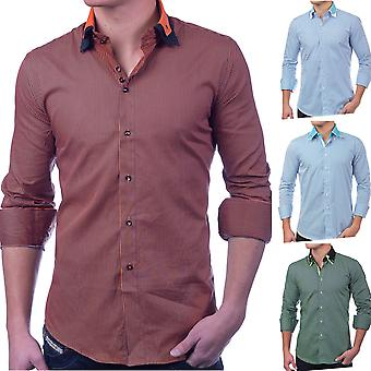 Men's shirt striped long-sleeved polo shirt SlimFit casual shirt casual (vierFarben)
