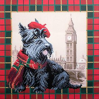 Collection D'Art Stamped Cross Stitch Kit 41X41cm-Scottish Terrier In London CDPA1692