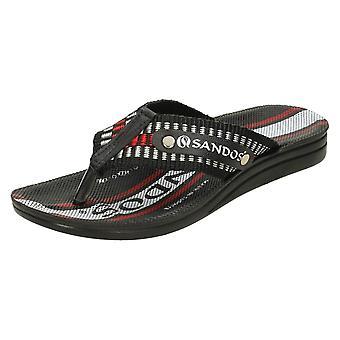 Mens Sandos Toe Post Sandals P509 - Black Synthetic - UK Size 7.5 - EU Size 42 - US Size 8.5