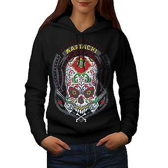 Face Skull Head Women BlackHoodie | Wellcoda