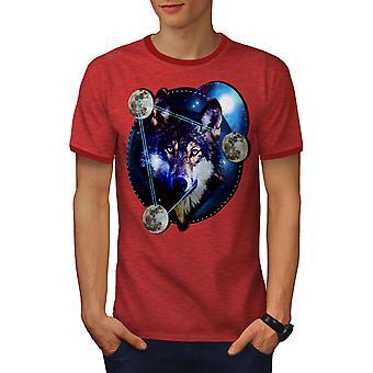 Galaxy Space Wolf Men Heather Red / RedRinger T-shirt | Wellcoda