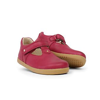 Bobux I-Walk Louise Pink Leather T-Bar Barefoot Shoes For Girls