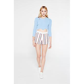 English Factory Scallop Hem Cropped Jumper