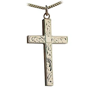 9ct Gold 40x25mm hand engraved solid block Cross with a curb Chain 16 inches Only Suitable for Youths