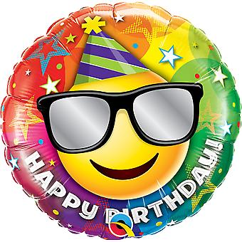 Foil balloon of happy birthday smiley sunglasses birthday about 45 cm