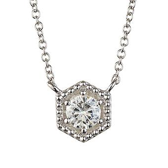 Forever Classic Round 4.5mm Moissanite Hexagonal Shaped Necklace, 0.33ct DEW