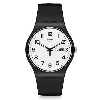 Swatch Swatch Suob705 Twice Again White & Black Silicone Watch