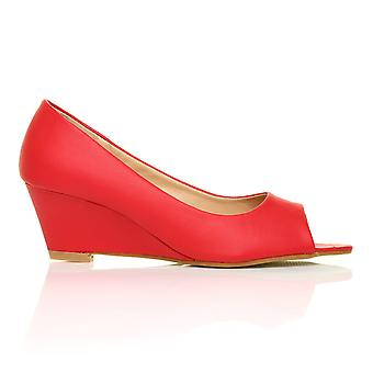 HONEY Red PU Leather Wedge Mid Heel Peep Toe Shoes
