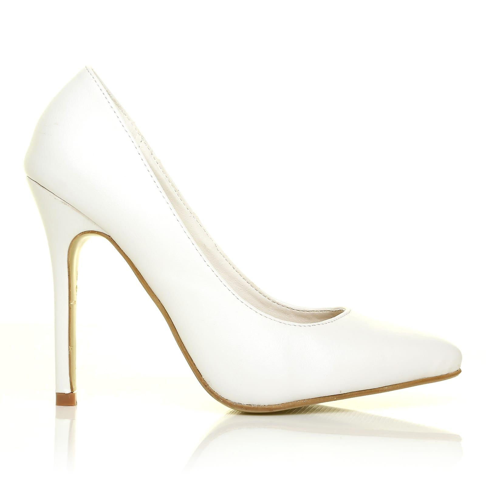 Toni White PU Synthetic Leather Pointed Toe Toe Pointed Court Shoes 876351