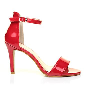 PAM Red Patent Ankle Strap Barely There High Heel Sandals