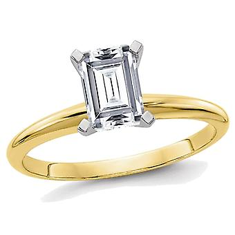 1.00 Carat (ctw) Emerald Cut Synthetic Moissanite Solitaire Engagement Ring in 14K Yellow Gold