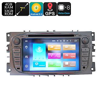 Ford 2 Din Car DVD Player - 7 Inch Screen, 3G, 4G, Android 8.0, Octa-Core, 4+32GB, Can Bus, Bluetooth, GPS, Wi-Fi
