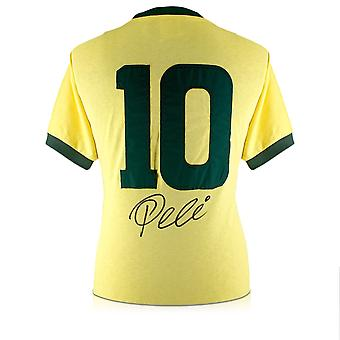 Pele Number 10 Brazil Football Shirt Signed On The Back