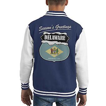 Seasons Greetings Delaware State Flag Christmas Kid's Varsity Jacket