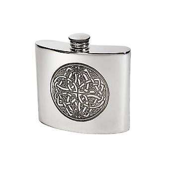 Celtic Embossed Standard Pewter Flask - 6oz