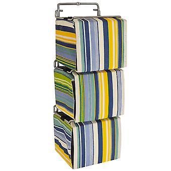 Stripe - 3 Wall Mounted Fabric Storage Boxes For Cd / Toys / Toiletries - Blue / Green