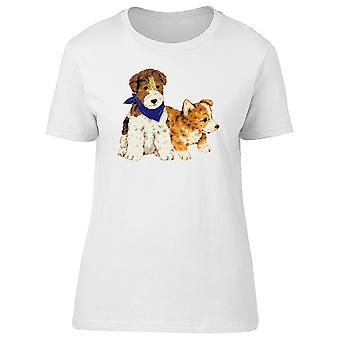 Two Puppies In Watercolor Tee Women's -Image by Shutterstock